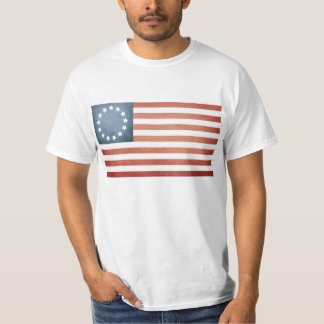 Revolutionary War Betsy Ross Faded U.S. Flag T-Shirt