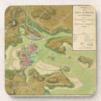 Revolutionary War Map of Boston Harbor 1776 Beverage Coasters