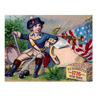 Revolutionary War patriotic boy flag vintage art Postcard