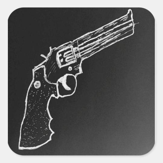 Revolver Black Square Sticker