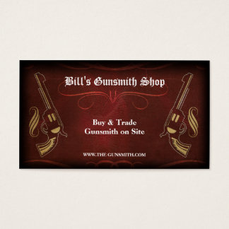 Revolver Gun & Red Leather Business Card