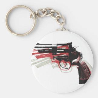 Revolver on White Key Chain