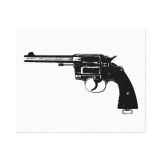 Revolver Silhouettes in Deep Black Canvas Print