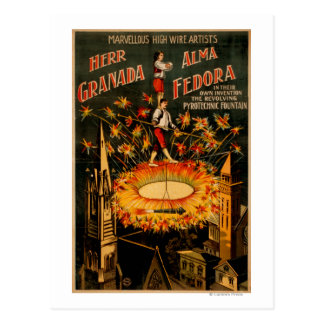 Revolving Pyrotechnic Fountain High Wire Postcard