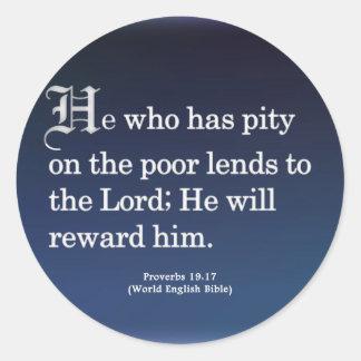 Rewarded for Service Proverbs 19-17 Round Sticker