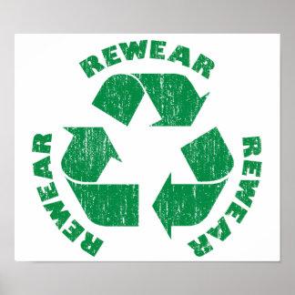 Rewear Rewear Rewear Recycle Symbol Poster