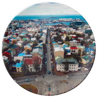 Reykjavik Aerial View Plate