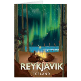 Reykjavik Camping Vintage Travel Poster Card