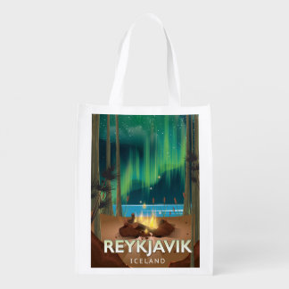 Reykjavik Camping Vintage Travel Poster Reusable Grocery Bag