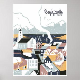 Reykjavik, Iceland, Travel Poster