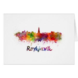 Reykjavik skyline in watercolor card