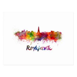 Reykjavik skyline in watercolor postcard