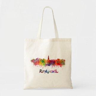 Reykjavik skyline in watercolor tote bag