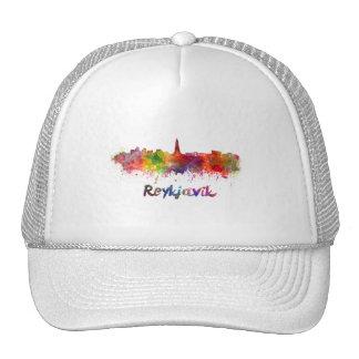 Reykjavik skyline in watercolor trucker hat