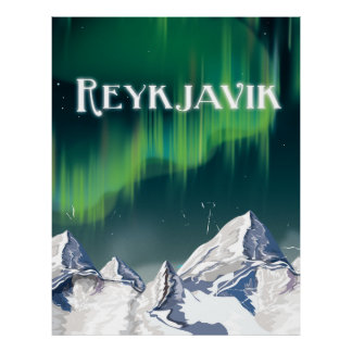 Reykjavik Vintage Travel Poster