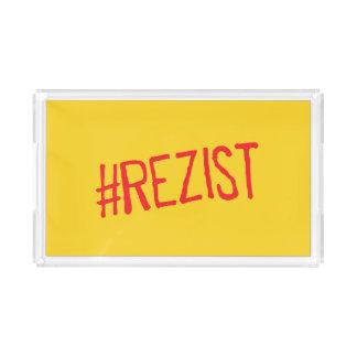 rezist romania political slogan resist protest sym acrylic tray