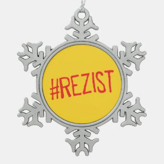 rezist romania political slogan resist protest sym snowflake pewter christmas ornament