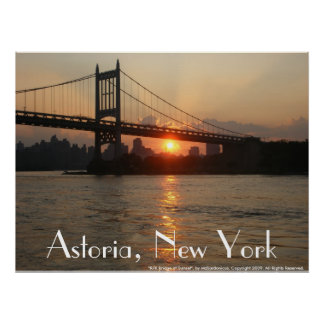 """RFK Bridge at Sunset"" Astoria, NY Poster"