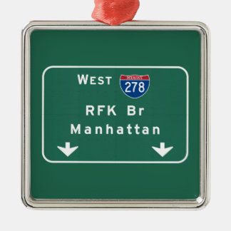 RFK Bridge I-278 Interstate NYC New York City NY Silver-Colored Square Ornament