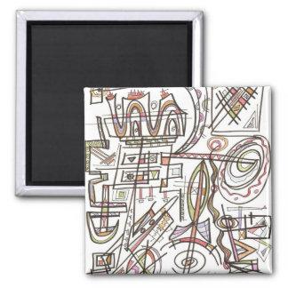 Rhapsody-Abstract Art Geometric Square Magnet