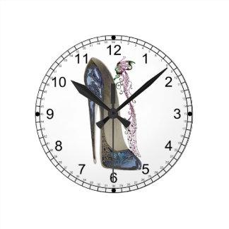Rhapsody in Blue Stiletto Shoe Art Round Clock