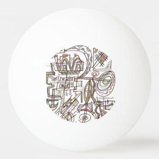 Rhapsody-Whimsical Abstract Geometric Ping Pong Ball