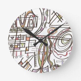 Rhapsody-Whimsical Abstract Geometric Round Clock
