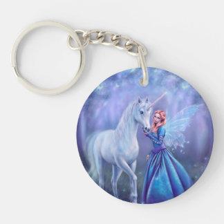 Rhiannon - Unicorn and Fair Round Acrylic Keychain