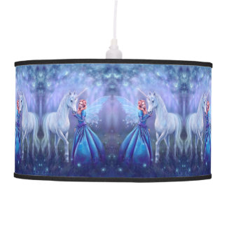 Rhiannon - Unicorn and Fairy Art Pendant Lamp