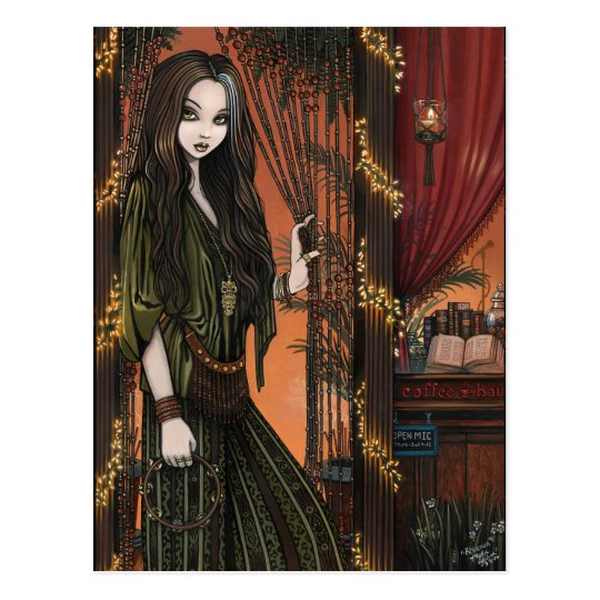 Rhianon Bohemian Coffee Shop Girl Postcard
