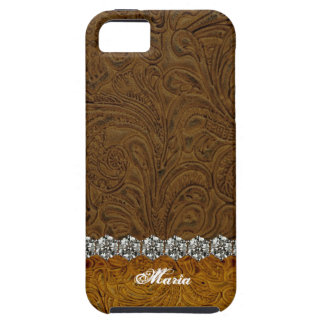 Rhinestone Cowboy Leather Look Personalized iPhone 5 Cases