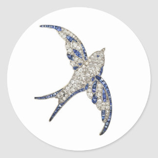 Rhinestone Diamonds Bird Vintage Costume Jewelry Round Sticker