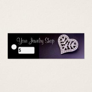Rhinestone Heart Jewelry Price Tags Mini Business Card