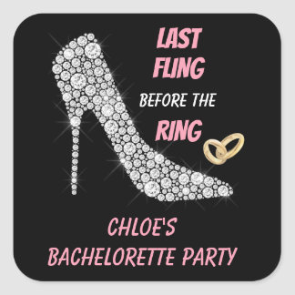 Rhinestone Heels Last Fling Bachelorette Party Square Sticker