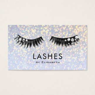 rhinestone lashes on faux sparkle makeup artist business card