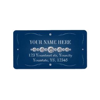 Rhinestone navy blue address labels