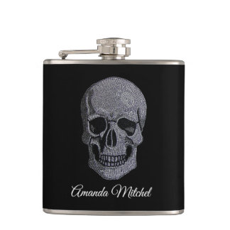 Rhinestone Skull Hip Flask