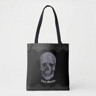 Rhinestone Skull Tote Bag