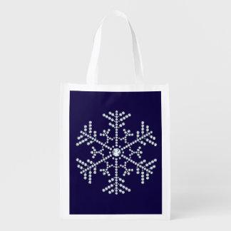 Rhinestone Snowflake Reuse Tote Bag Diamond Design