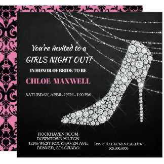 Rhinestone Stilleto Bachlorette Party Invitation