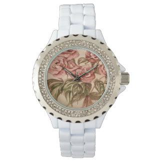 Rhinestone White Enamel Rose Watch