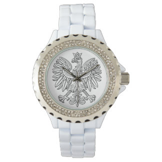 Rhinestone White Enamel Watch