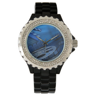Rhinestone with Black Enamel Watch Blue Film Reel