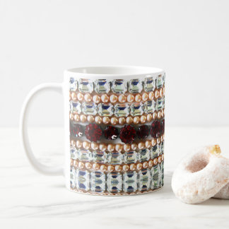 Rhinestones and pearls coffee mug