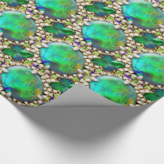 Rhinestones Green Jeweled Mandala Wrapping Paper