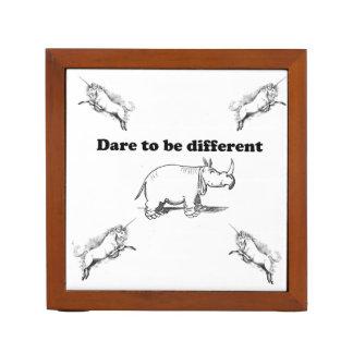 Rhino Among Unicorns Dare to be Different Cartoon: Desk Organizer