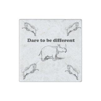 Rhino Among Unicorns Dare to be Different Cartoon: Stone Magnets