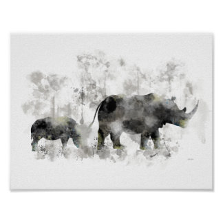 RHINO AND BABY POSTER