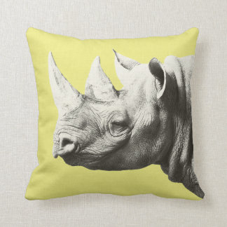 Rhino Animal Safari Yellow Pillow