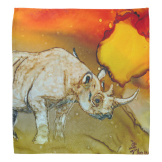 Rhino At Sunset Bandana